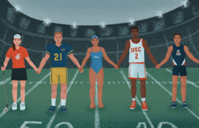 Illustration of athletes from different sports and universities linking hands while standing on a football field