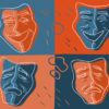 Illustration of Greek-style comedy and tragedy masks depicting different emotions.