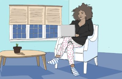 Illustration of a woman on a video call, wearing a blazer combined with pajama bottoms