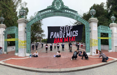 Photo of protest of Cal Dining pork suppliers, Seaboard Foods