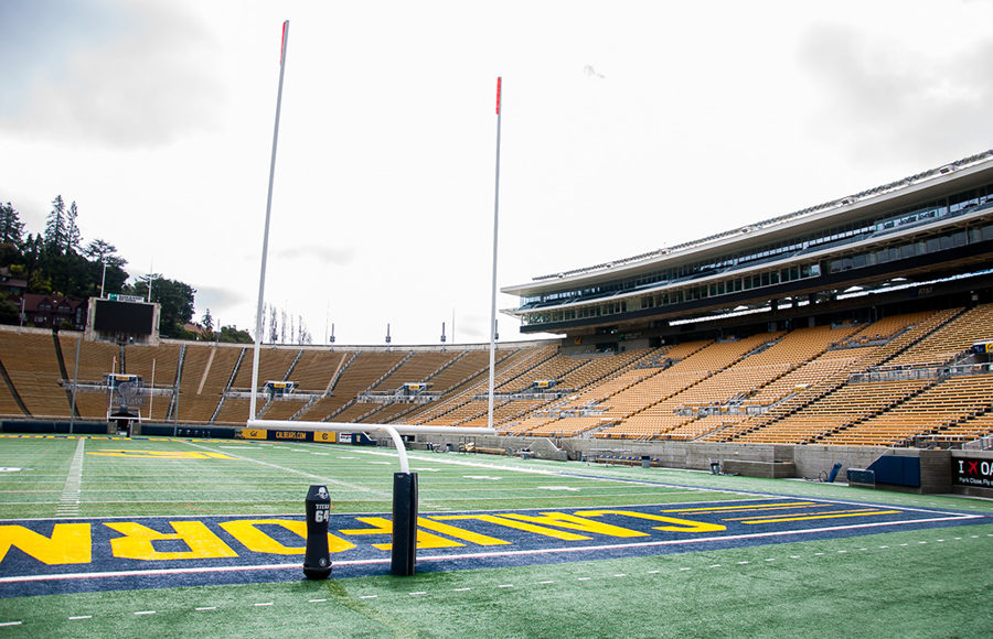 Photo of goal posts in UC Berkeley's Memorial Stadium