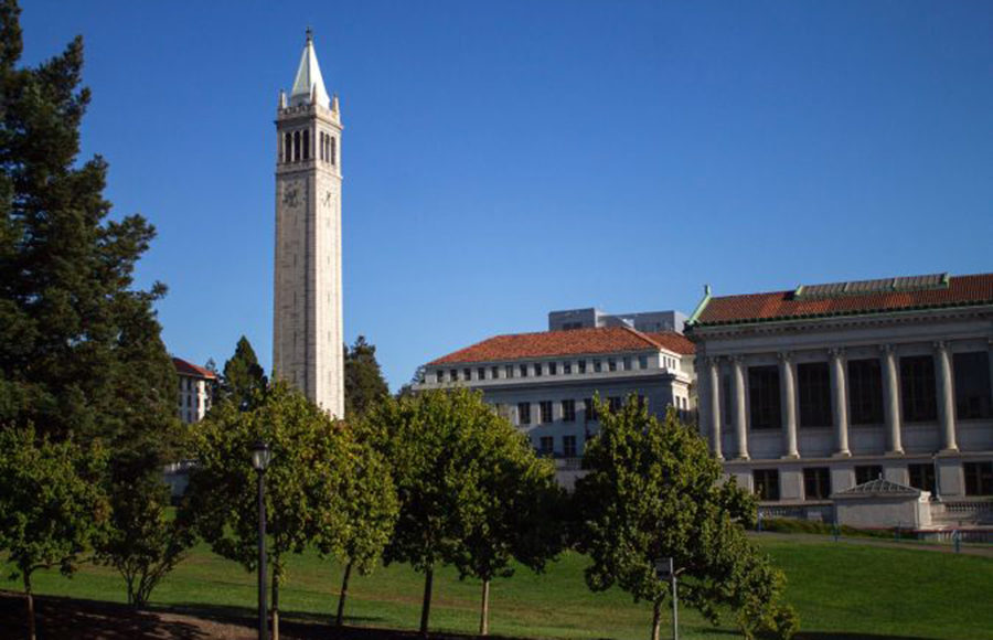 Photo of UC Berkeley campus, specifically Doe Library and the Campanile.