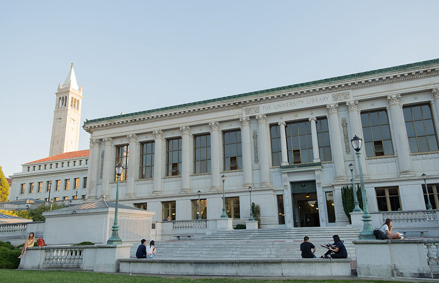 Photo of Doe Library and Sather Tower in the background