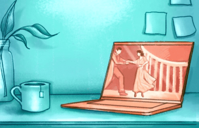 Illustration of a virtual theater production taking place through a laptop screen