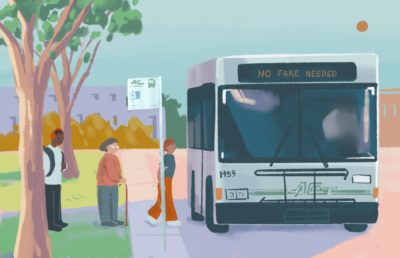 Illustration of people lining up to board an AC Transit bus that requires no fare
