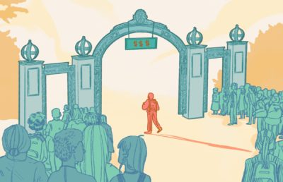 Illustration of packed crowds of students entering UC Berkeley through the sides of Sather Gate, while a single person enters through the main gate, labeled with dollar signs