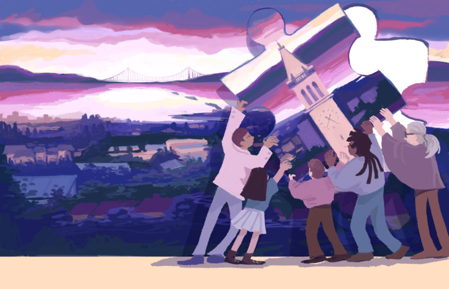 Illustration of 5 people working together to lift up a puzzle piece that completes the image of Berkeley at sunset.