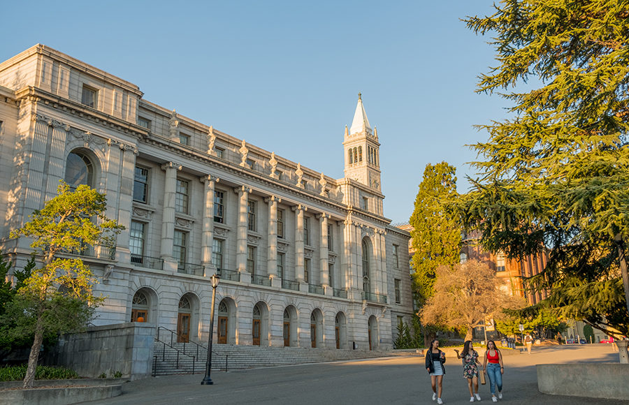 Photo of UC Berkeley's Wheeler Hall and Sather Tower