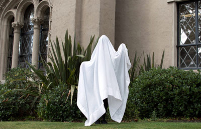 Photo of a person dressed up as a ghost