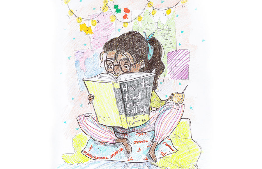 """Illustration of a girl sitting in bed with a cup of coffee, reading a book called """"How to Find your Calling""""."""