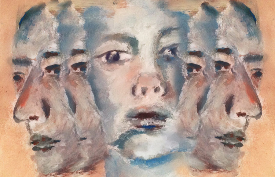 Illustration of a painterly face in blue tones, with mirrored versions of it emerging on either side.