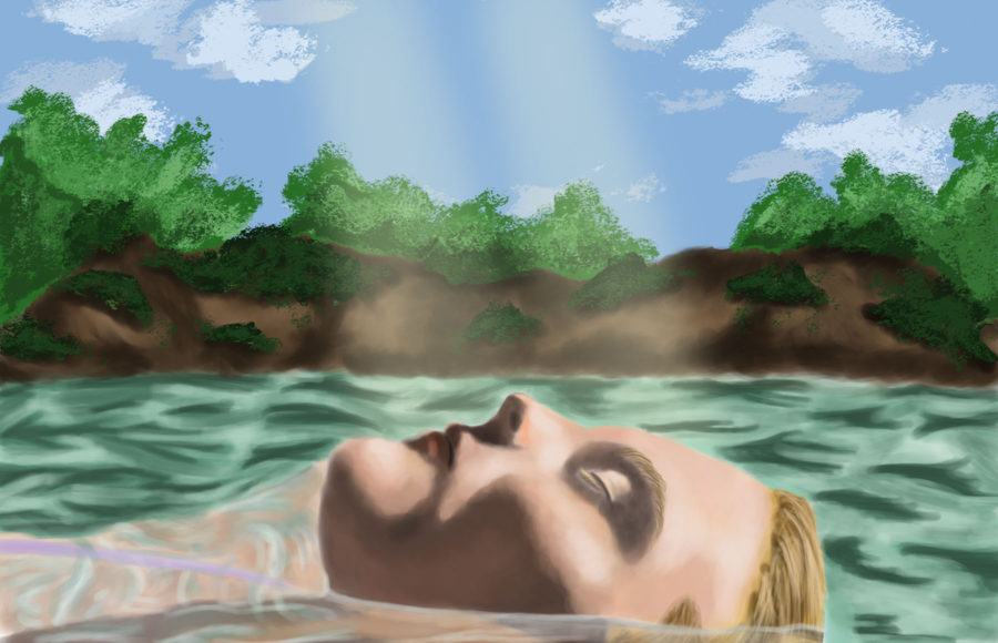 Illustration of a woman floating serenely on the surface of water that is shining from rays of light.