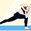 Illustration of a person doing yoga on a blue mat.