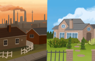 Illustration of two neighbourhoods compared side to side, with one clearly being impacted by environmental harm.
