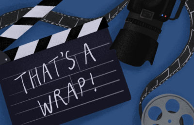 """Illustration of a camera, a film reel, and a striped clapper with """"That's a wrap!"""" written on it."""