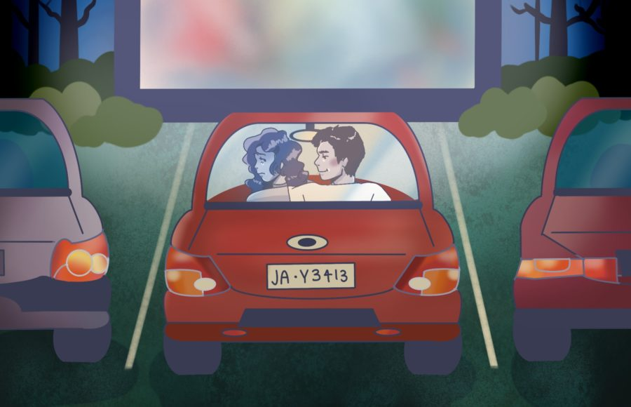 Illustration of a woman and a man sitting at the drive in theatre, with the man putting his arm around the woman in a way that makes her uncomfortable.