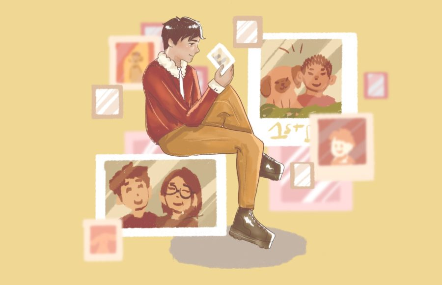 Illustration of a person sitting and admiring many old photos, by Jason Yen.