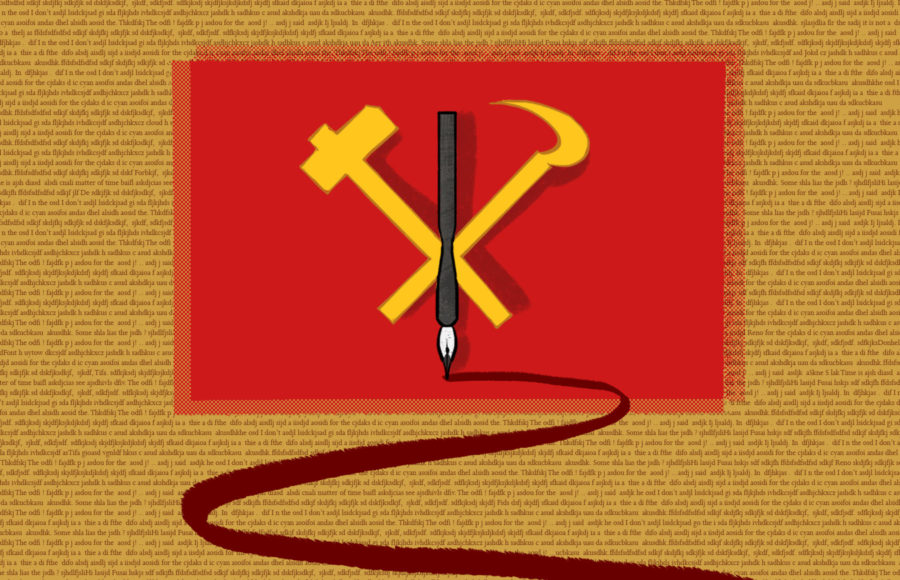 Illustration of the Worker's Party of Korea flag with a pen in the middle, spilling ink before a background of jumbled text.