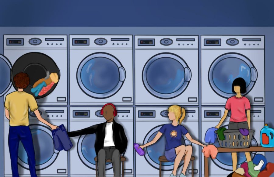 Illustration of students working together at a UC Berkeley laundry co-op.