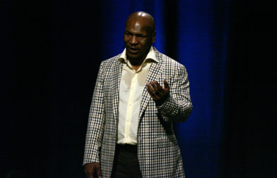 Photo of Mike Tyson giving a speech