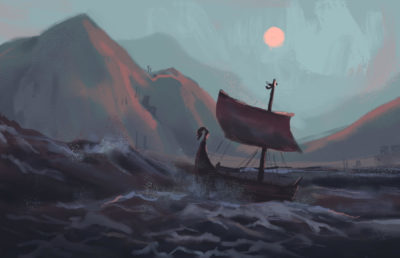 Illustration of a Nordic sea vessel making its way through rocky waves by the coast.
