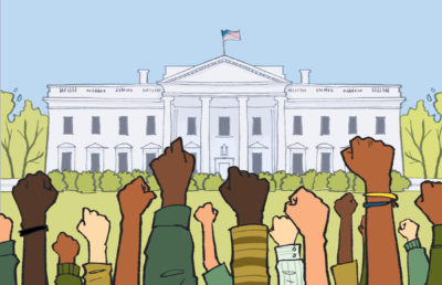 Illustration of a crowd of people raising their fists in front of the white house.