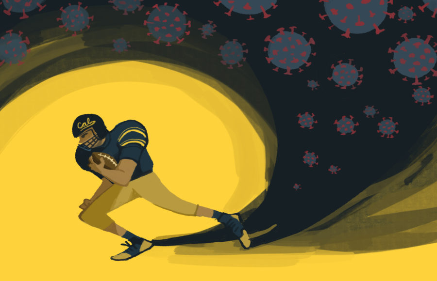 Illustration of a Cal football player running and leaving behind him a shadowy trail of covid particles.