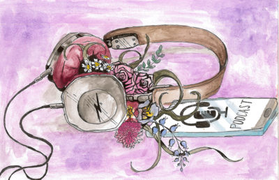 Illustration of headphones emitting flowers, while plugged into a phone playing a podcast.