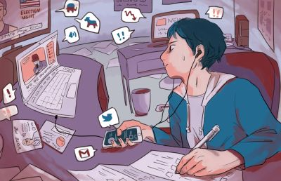 Illustration of a person sitting at a desk with multiple screens and devices, conveying a chaotic and stressed mood in relation to election anxiety.