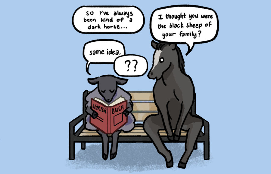 Illustration of a black sheep and a dark horse having a conservation on a bench.