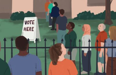 """Illustration of people in line, at a polling place, next to a sign reading """"Vote Here""""."""