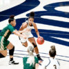 Photo of Cal Women's Basketball player dribbling