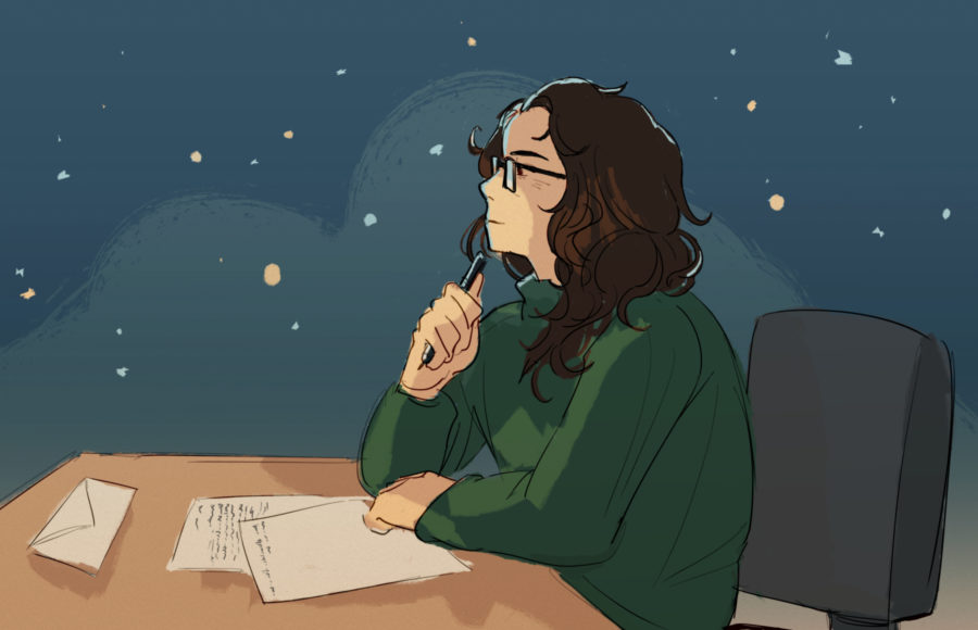 Illustration of a person looking introspective and writing a letter against a wintry background
