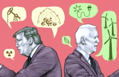 Illustration of Donald Trump and Joe Biden back to back, with speech bubbles representing different climate policies