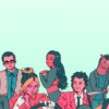 Illustration of Toni Colette, Dua Lipa, Dan Levy, Megan Thee Stallion, Harry Styles, Anya Taylor Joy, and the cartoon character Bojack Horseman.