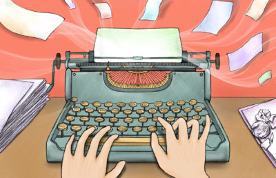 Illustration of a person using a typewriter on a paper crumple-littered desk, as sheets of paper go flying out of the typewriter.