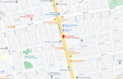 Google maps screenshot of a marker on San Pablo Ave & Virginia St