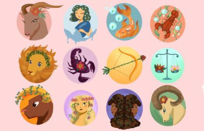 Illustration of the 12 zodiac signs in a bright, springtime palette