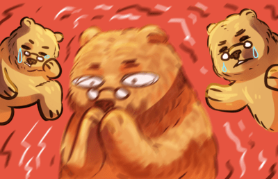 Illustration of a cartoon bear in extreme regret and pain