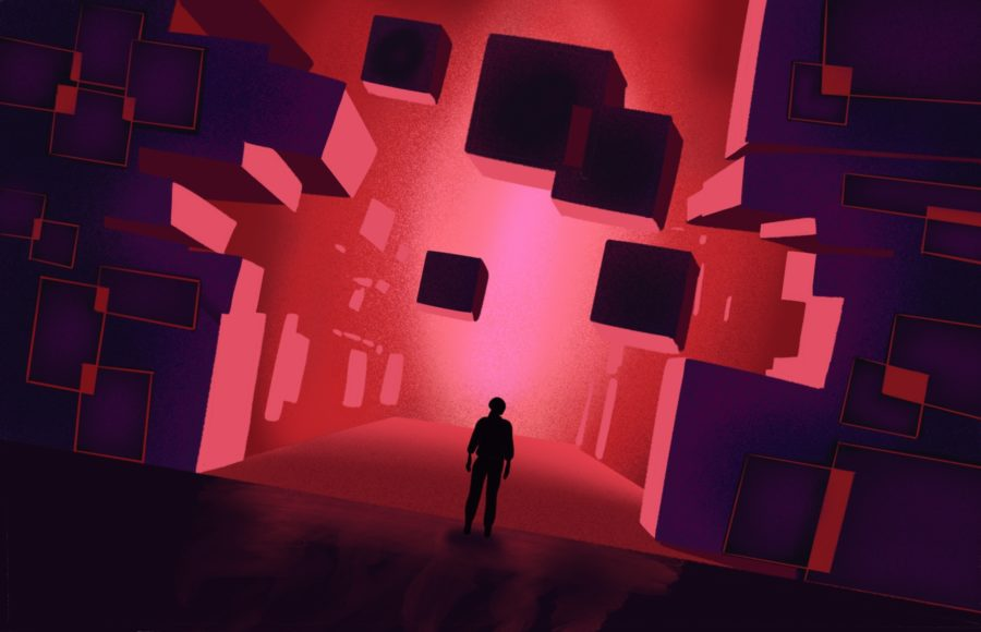 "Illustration of the game ""Control"", in which floating blocks are backlit by bright red light and silhouetting a figure"