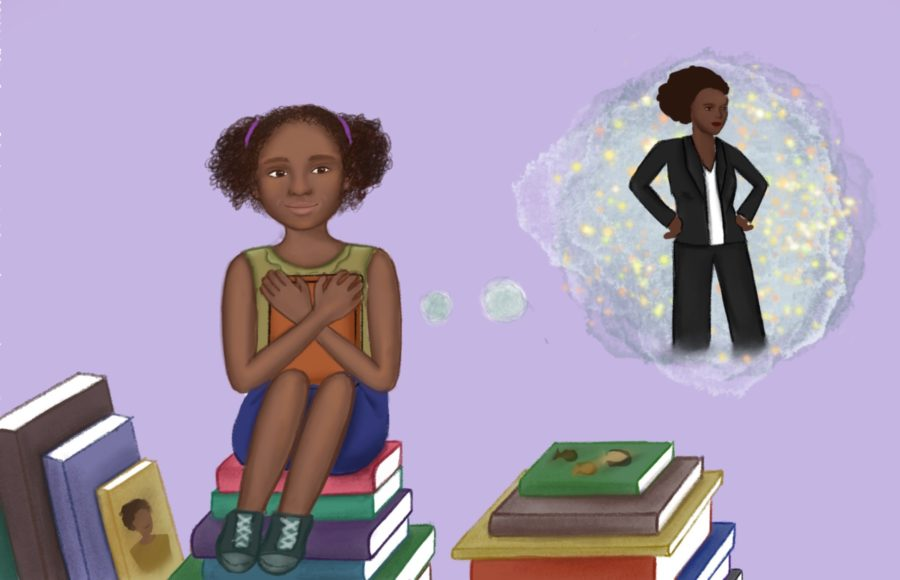 Illustration of a young girl seated and hugging a book to her chest, imagining opportunities for the future