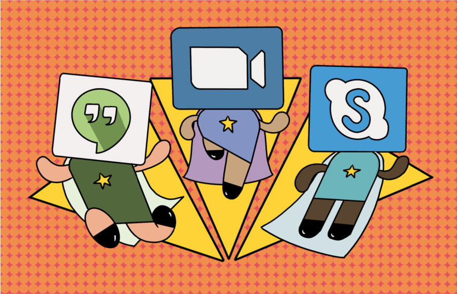 Illustration of Zoom, Skype, and Google Hangouts as superheroes