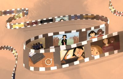 Illustration of a series of different memories in a person's past drifting by on a film reel