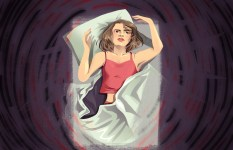 Illustration of a person lying in bed, surrounded by a swirl of dark thoughts and trying to push them away