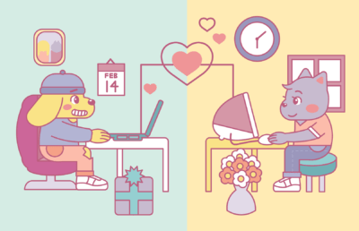 """Illustration of two animals in different locations on their computers, holding a """"Zoom date"""""""