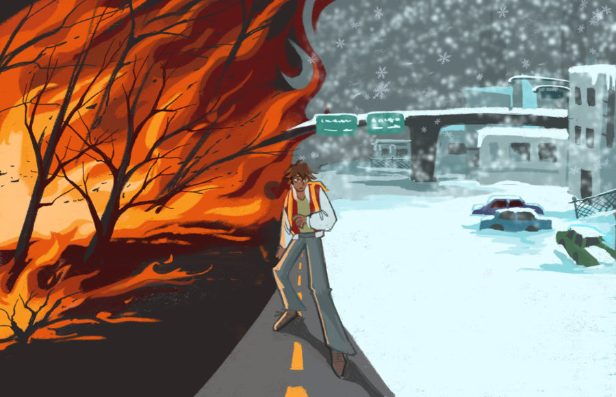 Illustration of a young adult caught between a burning wildfire and a powerful snowstorm
