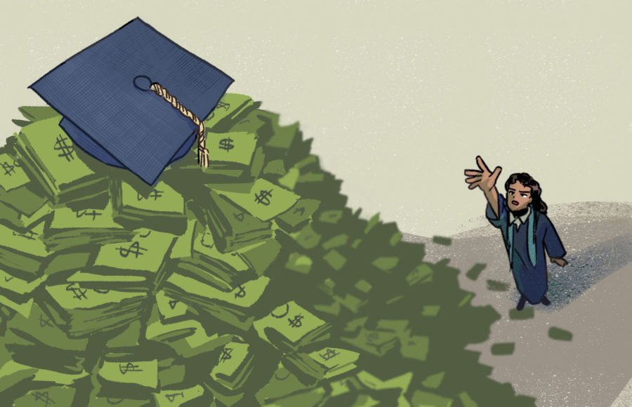Illustration of a student reaching for a graduation cap far out of reach on top of stacks of dollar bills