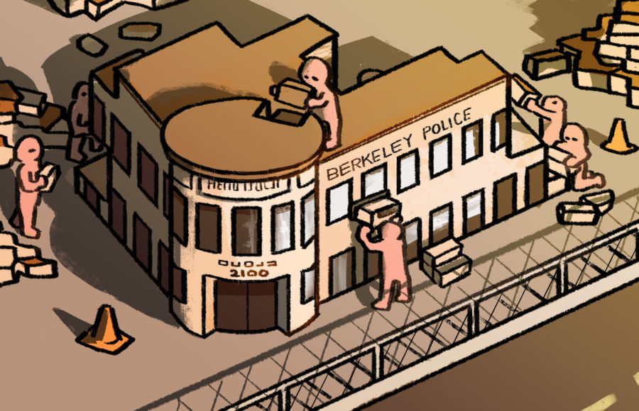 Illustration of people building the Berkeley Police Station
