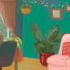 Illustration of a cozy apartment interior