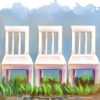 Illustration of a row of identical white chairs on top of some grass